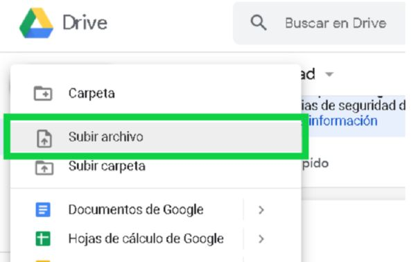 Cliquear + Nueva con Google Docs