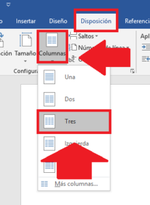 configurar las columnas en el folleto en documento word