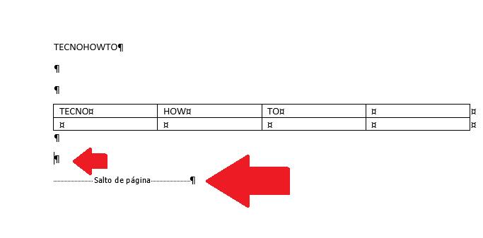 Eliminar espacio bajo una tabla en word