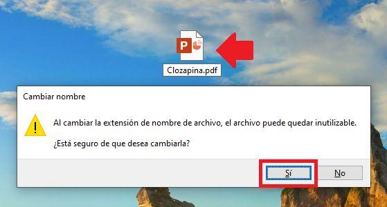 cambiar extensión de un archivo