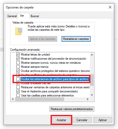 ocultar formatos de la extension del archivo en windows 10