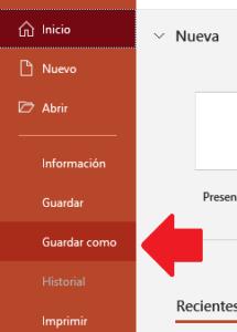 guardar archivo para cambiar su extensión desde Windows 10