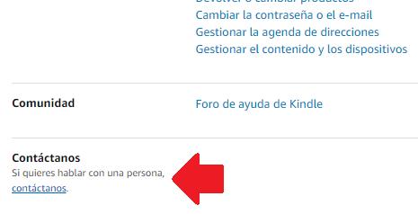 área de contacto de Amazon