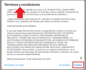 terminos y condiciones de crear cuenta en ID de apple