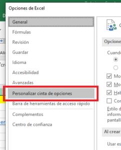 persolanizar la cinta de opciones de macro en Excel