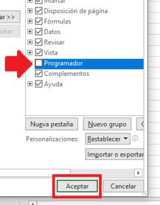 opciones de programador para office excel
