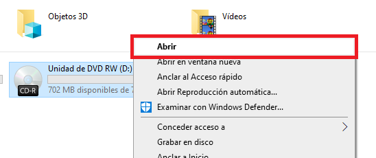 abrir unidad de CD windows 10