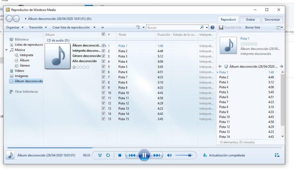 grabar y reproducir un audio en un CD