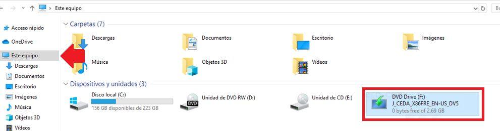 ubicar archivo ISO pata montar la imagen iso en carpeta en windows 10