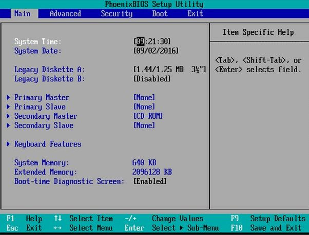 pagina principal de la bios desde windows 10