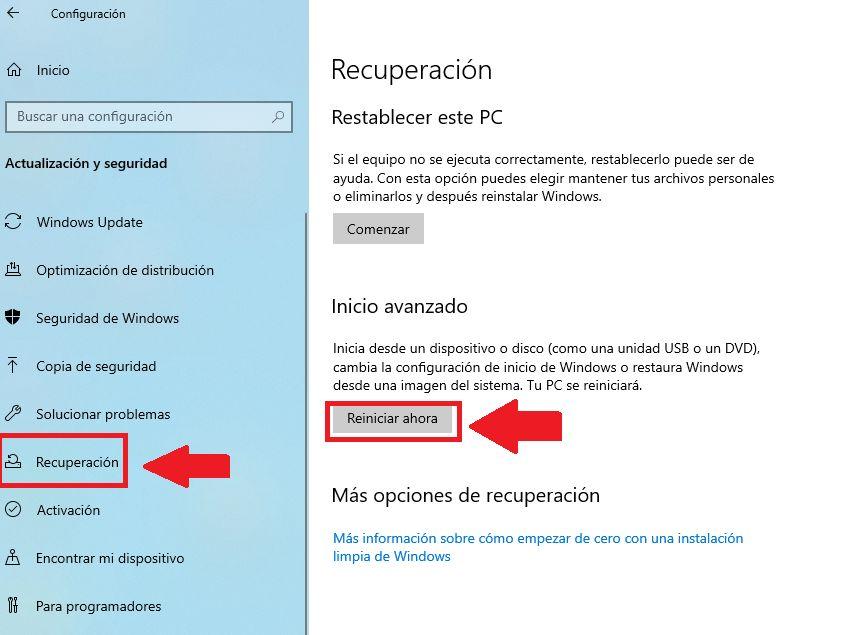 configurar el reinicio avanzado desde windows 10