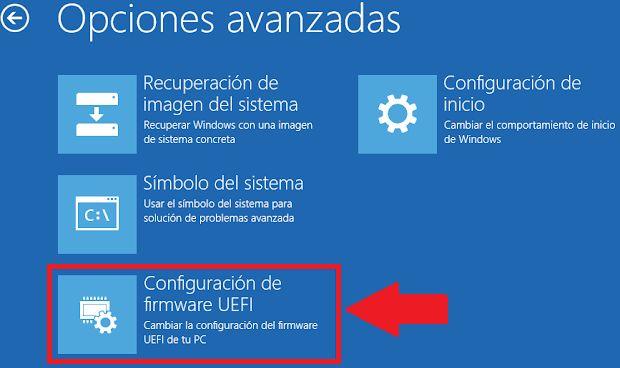 entrar a la configuracion de firmware UEFI BIOS windows 10