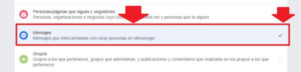 seleccionar los mensajes a descargar de Facebook al correo