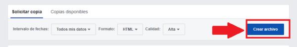 crear archivo de descarga con la información de mensajes borrados de Facebook