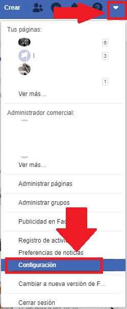 menu de configuraciones de Facebook