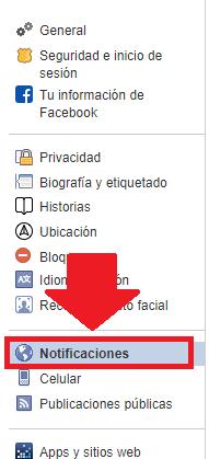 pestaña de notificaciones de Facebook