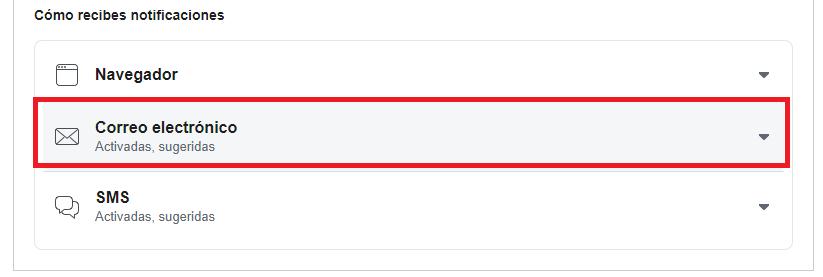 configuracion de notificaciones al correo desde Facebook