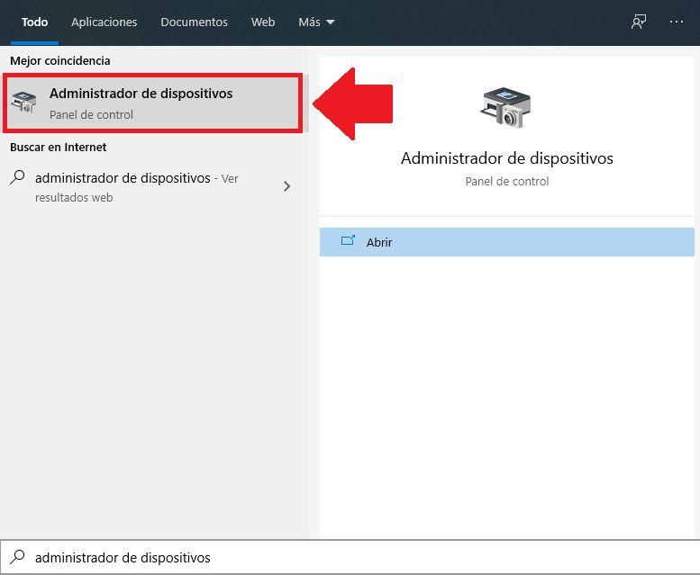 abrir administrador de dispositivos para reparar disco duro windows 10