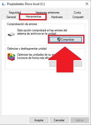 Comprobar funcionamiento del disco duro en windows 10