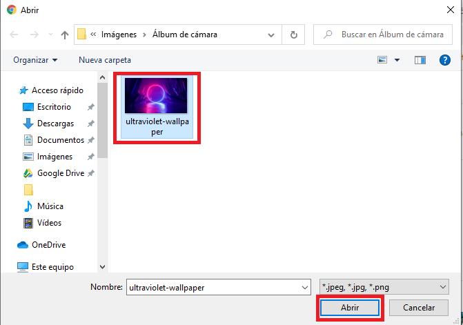 seleccionar imagen cargar de fondo para google chrome