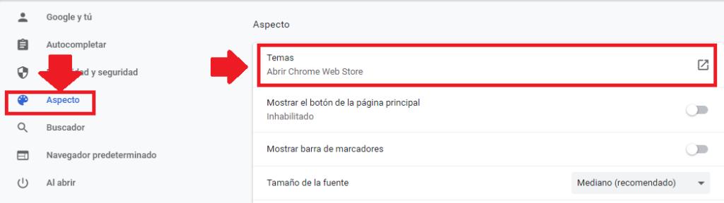 ubicar temas para google chrome