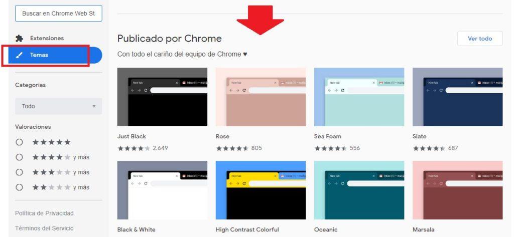seleccionar temas de google chrome