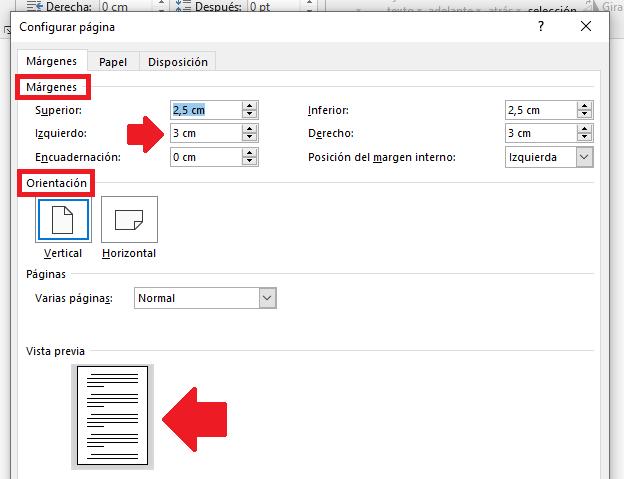 Recuadro de configuración de página en Word
