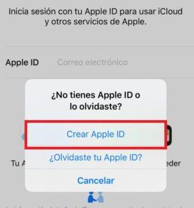 crear Apple ID desde iOS