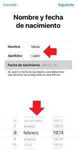 llenar los datos de nueva cuenta de icloud desde iphone
