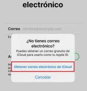 obtener un nuevo correo de icloud desde ios iphone
