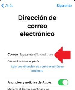 llenar datos del nuevo correo electronico de icloud