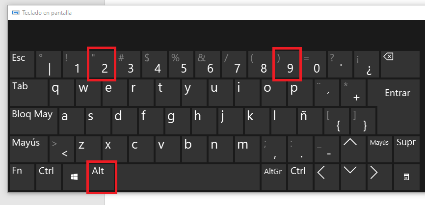 backslash o barra invertida en windows 10