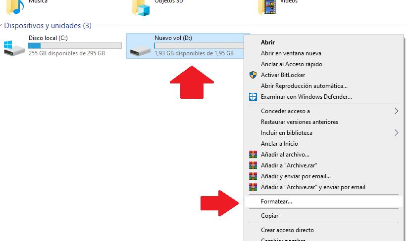 formatear unidad de partición del disco duro desde windows 10