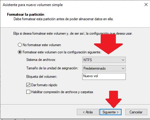 establecer formato de particion de disco duro de windows 10