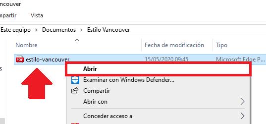 Opción abrir PDF