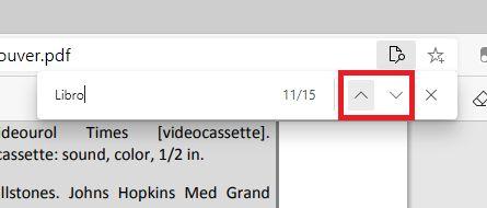 Flechas para navegar en los resultados de búsqueda de un PDF