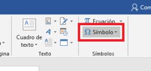 Opción de símbolo en Word