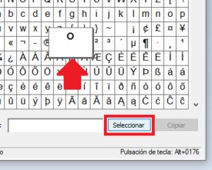 Botón de seleccionar en mapa de caracteres