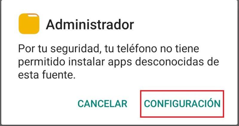 configuraciones de adminitrador para instalar apk de whatsapp