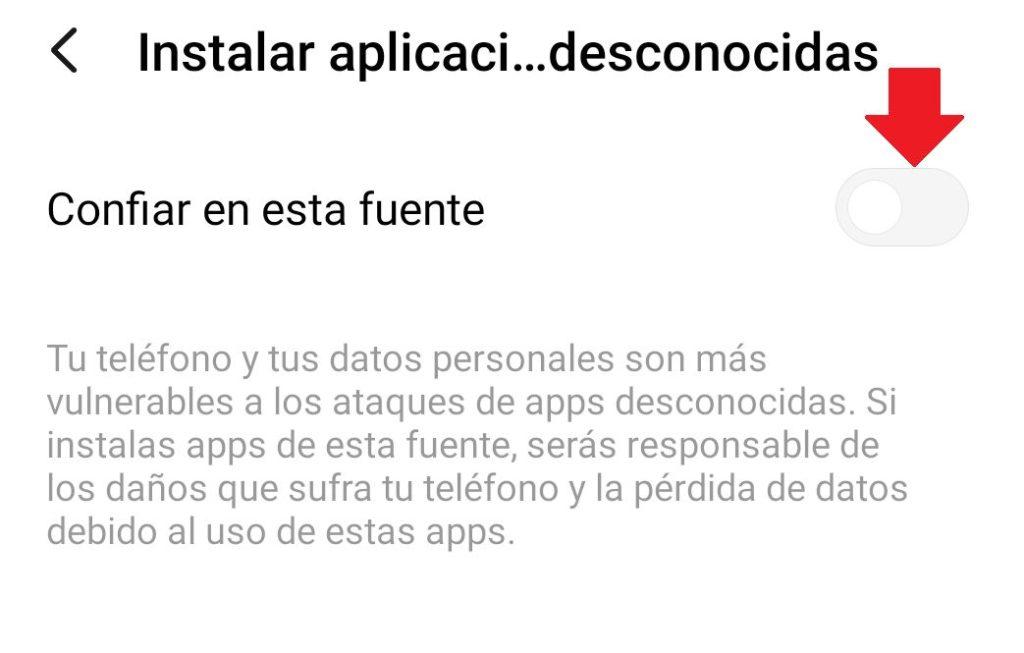 confiar en fuentes desconocidas e instalar apk de whatsapp