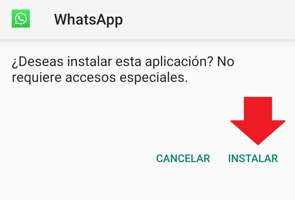 instalar apk de whatsapp messenger en smartphone
