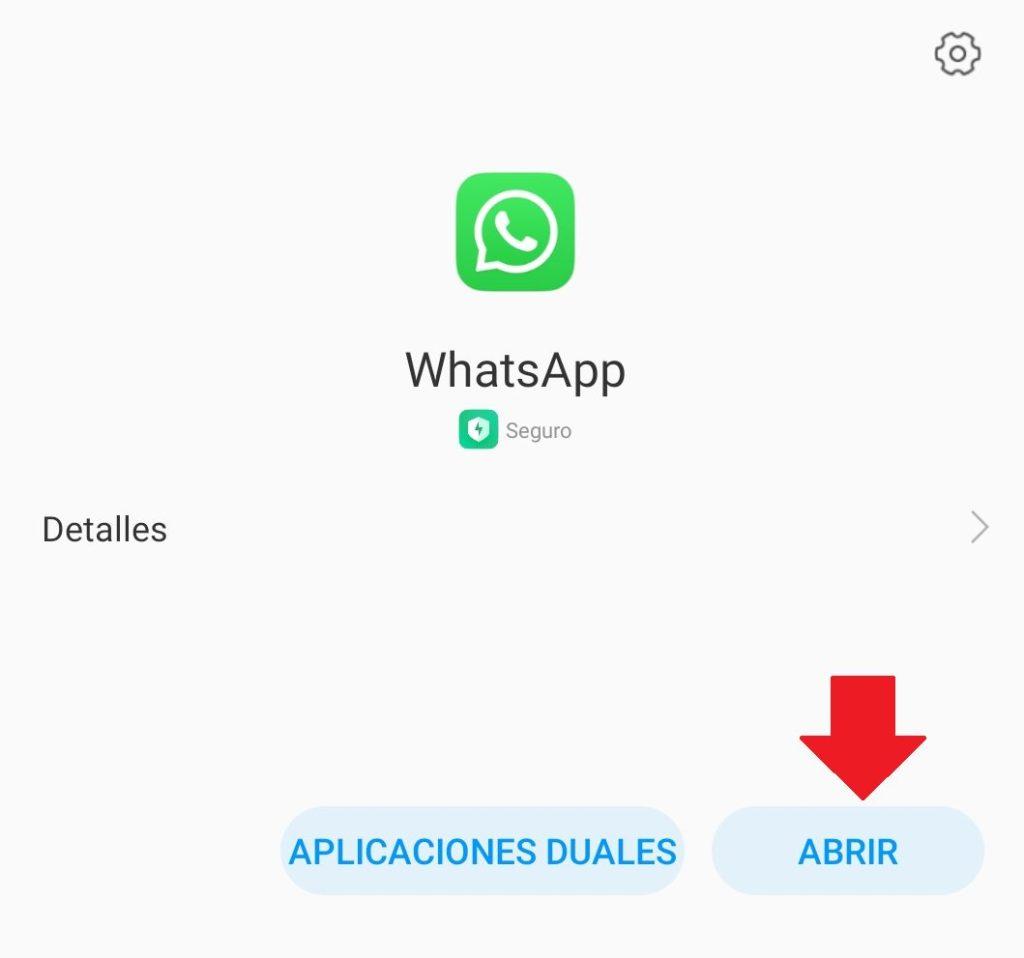 abrir apk de whatsapp instalada en el movil