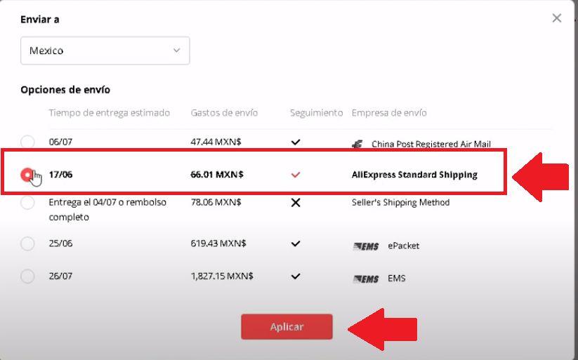 comprar en Aliexpress con Aliexpress Standar Shipping