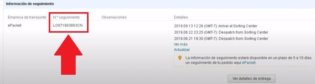 verificar numero de seguimiento de pedido en aliexpress