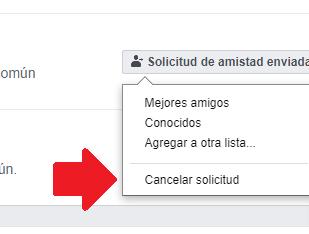 Opción de cancelar solicitudes de amistad en Facebook