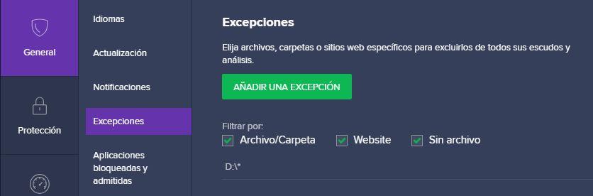 datos y formatos de las excepciones de antivirus de avast
