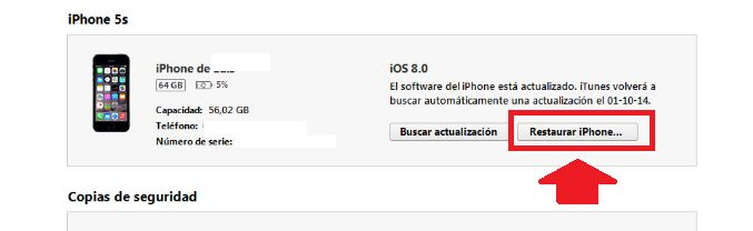 restaurar iphone desde itunes