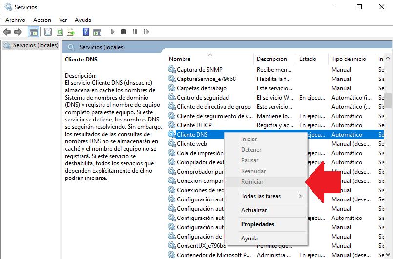 reiniciar client DNS para reiniciar error DNS exdomain