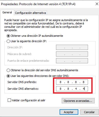 cambiar servidor DNS publico solucion de error dns domain en chrome