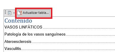 Opción actualizar tabla de contenido en Word
